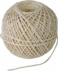 Creme witte Naturel touw 55 meter op rol - 2 mm - Sisalvezels 200 grams - Klus/tuin/hobby touw/draad