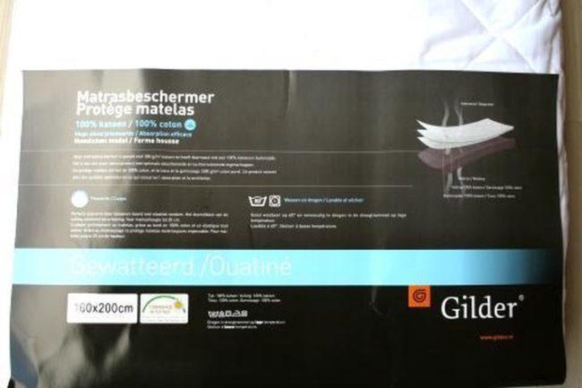 Afbeelding van Gilder Katoen gewatteerde matrasbeschermer - Wit 180x220