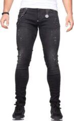 Zwarte Jeans heren - LEYON Denim White Spots - Blauw - Spijkerbroek - Slim Fit - W33 L33
