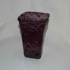 Bordeauxrode ZoeZo Design Vaas glas, bordeaux, 4-kant: 12 x 12 x 22 cm
