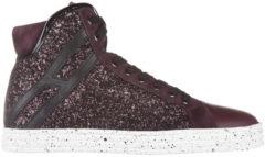 Rosso Hogan Rebel Scarpe sneakers alte donna in pelle r182 colletto imbottito
