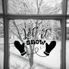 Zwarte Namenenzo Sticker Raamsticker kerst A4 - Let it Snow | Kerst stickers | kerststickers raam | Gratis Verzending!