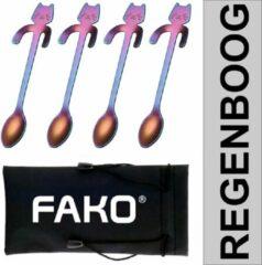 Fako Bijoux® - Theelepel / Koffielepel Hangende Kat - Regenboog - 4 Stuks