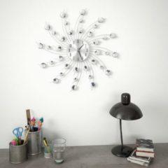 Zilveren VidaXL Wandklok met quartz-mechanisme 50 cm modern ontwerp