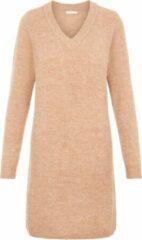 PIECES - Trui-jurk met V-hals in camelkleur-Neutraal