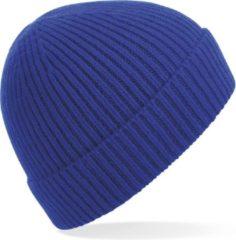 Beechfield Gebreide Ribbed Beanie wintermuts in het kobalt blauw voor volwassenen - Damesmutsen / herenmutsen - 97% polyacryl en Elastaan
