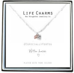 Life Charms Ketting met Giftbox Silver & Rose Gold Heart