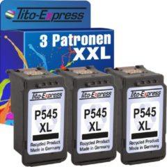 Zwarte Tito-Express PlatinumSerie 3 Patronen XXL voor Canon PG-545 XL Black PlatinumSerie MG 2550 / MG 2500 Serie / MG 2450 / MG 2400 Serie / MG 2950 / MG 2455 / MG 2555 / IP 2800 / MG 2900