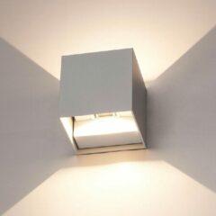 HOFTRONIC™ Dimbare LED Wandlamp Kubus Grijs - Set van 3 - Kansas - 6 Watt - 3000K - Tweezijdig oplichtend - IP54 - Uitermate geschikt voor binnen en buiten