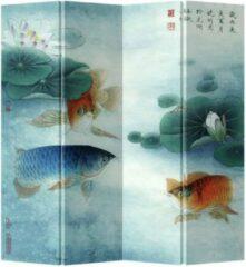 Blauwe Fine Asianliving Chinees Kamerscherm Oosters Scheidingswand B160xH180cm 4 Panelen Koi in Lotuspond