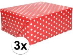 Shoppartners 3x Inpakpapier/cadeaupapier rood met stip 200 x 70 cm op rollen - Kadopapier/geschenkpapier