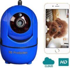 BS Producten Beveiligingscamera - huisdiercamera - WiFi - Beweeg en geluidsdetectie - Werkt met app - Blauw