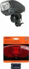 Merkloos / Sans marque Fietsverlichting set fietskoplamp en achterlicht met reflector - LED - universeel - fietsverlichting op batterijen - voorlichten / achterlichten