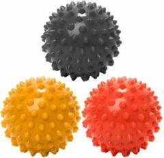 #DoYourFitness - 3 delige set massagebal - »Nica« - Lacrosse Bal / Fasciaball voor effectieve zelfmassage van triggerpoints - diameter 10cm - zwart/rood/geel