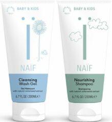 Bundel Naïf natuurlijke baby wasgel & shampoo - voor baby en kind - 2 x 200ml