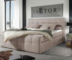 DELIFE Bed Sebastiano beige 180x200 Matras Topper veerkern boxspring bed