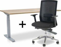 Lineaflex MRC Zit-sta bureau elektrisch verstelbaar + ERGO Bureaustoel | ARBO PRO Thuiswerkset | frame bureau aluminium - bureaublad midden eiken| 140x80 cm