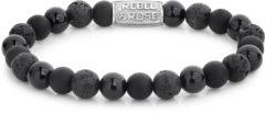 Rebel & Rose Rebel and Rose RR-80041-S Rekarmband Beads Black Rocks zilverkleurig-zwart 8 mm M 17,5 cm