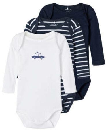 Afbeelding van NAME IT BABY newborn baby romper - set van 3 donkerblauw/wit