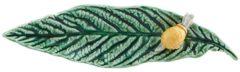 Bordallo Pinheiro Folhas Serveerschaaltje - Blad - Slakje - Groen/Geel - Aardewerk - 24,9 cm