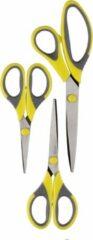 Merkloos / Sans marque Scharen set 3-delig geel verschillende maten - Huishoudschaar / borduurschaar / kleermakersschaar