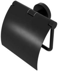 Geesa Nemox black toiletrolhouder met klep, mat zwart