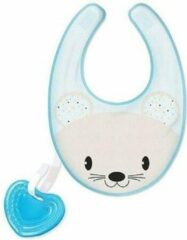 Blauwe Chicco Fresh Teething Ring with Bib 3 In 1 Blue 4m+