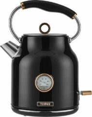 Tower Retro Waterkoker 1.7 Liter Bottega Rose Gold Zwart | met thermostaat en temperatuursaanduiding