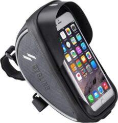 Grijze Merkloos / Sans marque Fietsstuurtas voor smartphone - Fietsstuurtas voor telefoon - Smartphonehouder voor fiets - geschikt voor All Terrain Bike - Wielrenfiets – Wielrennen – Herenfiets – Damesfiets