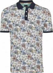Tresanti Heren Poloshirt Wit Bloem Print Piqué Regular Fit - XL