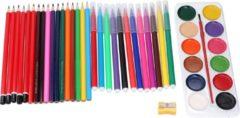 Paarse Topwrite Kids Tekenset - 43-delig - potloden, stiften, verf, kwast en puntenslijper
