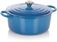 Blauwe Le Creuset Signature ronde braadpan - Ø 28 cm - marseille blauw