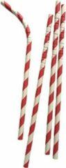 Joyenco Buigbare papieren rietjes rood gestreept - 50 stuks - duurzaam, 100% composteerbaar
