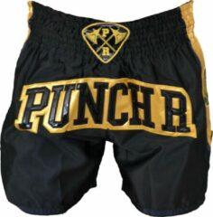 PunchR™ PunchR Muay Thai Kickboks Broek Zwart Goud by Punch Round™ XXS = Jeans Maat 26   6 t/m 8 Jaar