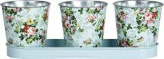 Esschert Design Potjes 10,6 X 32 Cm Staal Roze/groen 3 Stuks