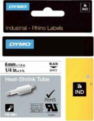 Labeltape krimpkous DYMO IND RHINO 18051 Polyolefine Tapekleur: Wit Tekstkleur:Zwart 6 mm 1.5 m