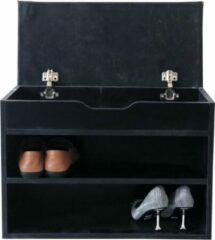 VDD Halbankje met schoenen opbergvakken - schoenenrek met zitkussen - zwart