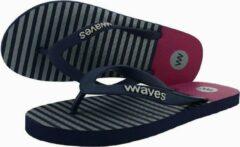 Waves teen slippers man donkerblauw gestreept maat 39 vegan duurzaam fair rubber flip flops