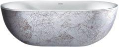 """Witte Best Design Vrijstaand Bad """"Color-Nicelook"""" 180 x 86 x 60 cm zilver marmerlook"""