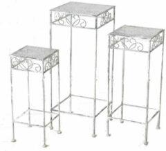 Bellatio Decorations Set van 3x vierkante bijzettafels/plantenstandaards Lilli 50/60/70 cm - Lichtgrijze brocante plantenhouders/plantentafels
