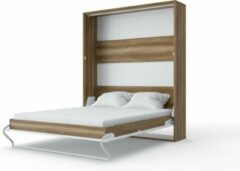 Maxima House INVENTO 14 Verticaal Vouwbed - Logeerbed - Opklapbed - Bedkast - Modern Design - Country Eik / Hoogglans Wit - 200x160 cm