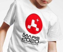 Witte T-shirt | Nasa | Officieel logo Mars 2020 Perseverance | Maat 152 (12-13 jaar)