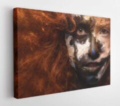 Onlinecanvas Red haired woman with face art and creative make up. Curly hair style. Black and white face art. Fantasy painted girl. Masquerade - Modern Art Canvas - Horizontal - 243473584 - 40*30 Horizontal