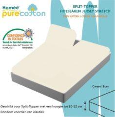 Homéé® Splittopper Hoeslaken Jersey 100% Katoen (tot 10cm) 180 x 200/210/220 -ecru