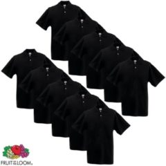 Zwarte Fruit of the Loom 10 Originele Heren Poloshirt Zwart XL