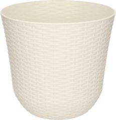 Forte Plastics 1x Ivoor witte plantenbakken/bloempotten 25 cm - Woon/tuinaccessoires/decoratie - Ronde bloempotten/plantenpotten voor binnen/buiten