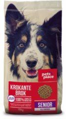 Pets Place Senior Krokante Brokken Gevogelte&Vlees - Hondenvoer - 15 kg - Hondenvoer