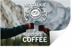 StickerSnake Muursticker Koffie Quotes 2 - Koffie quote 'No talkie before coffee' tegen een achtergrond met koffiemokken - 120x80 cm - zelfklevend plakfolie - herpositioneerbare muur sticker