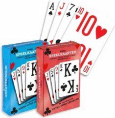Verhaak speelkaarten Bridge 9 x 6 cm karton rood/blauw 2 sets