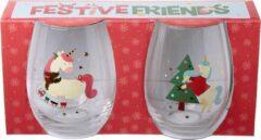 Puckator Glazen (set van 2) - Kerst - Eenhoorns 12 cm hoog